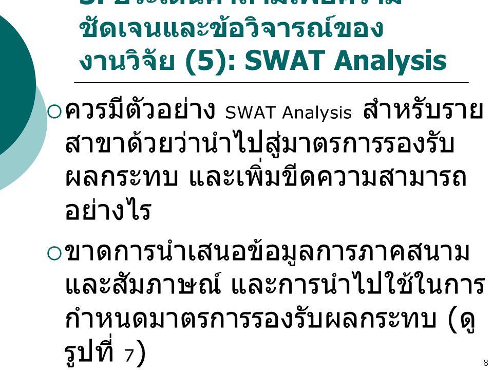 8 3. ประเด็นคำถามเพื่อความ ชัดเจนและข้อวิจารณ์ของ งานวิจัย (5): SWAT Analysis  ควรมีตัวอย่าง SWAT Analysis สำหรับราย สาขาด้วยว่านำไปสู่มาตรการรองรับ
