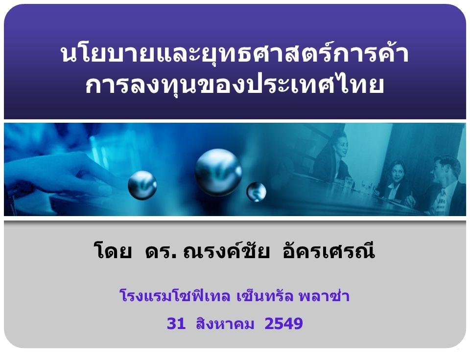 นโยบายและยุทธศาสตร์การค้า การลงทุนของประเทศไทย โดย ดร. ณรงค์ชัย อัครเศรณี โรงแรมโซฟิเทล เซ็นทรัล พลาซ่า 31 สิงหาคม 2549