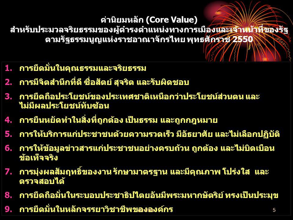 ค่านิยมหลัก (Core Value) สำหรับประมวลจริยธรรมของผู้ดำรงตำแหน่งทางการเมืองและเจ้าหน้าที่ของรัฐ ตามรัฐธรรมนูญแห่งราชอาณาจักรไทย พุทธศักราช 2550 1.การยึด