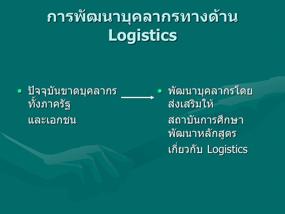 การพัฒนาบุคลากรทางด้าน Logistics ปัจจุบันขาดบุคลากร ทั้งภาครัฐ ปัจจุบันขาดบุคลากร ทั้งภาครัฐและเอกชน พัฒนาบุคลากรโดย ส่งเสริมให้ สถาบันการศึกษา พัฒนาห