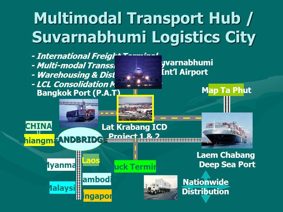 Multimodal Transport Hub / Suvarnabhumi Logistics City Lat Krabang ICD Project 1 & 2 Laem Chabang Deep Sea Port Bangkok Port (P.A.T) Suvarnabhumi Int'