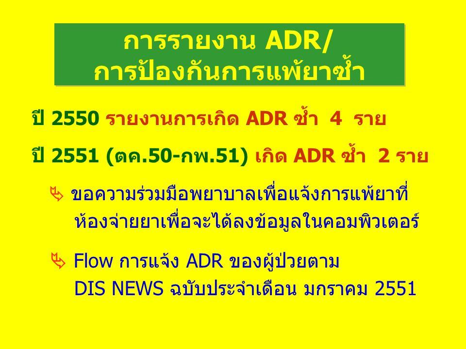 การรายงาน ADR/ การป้องกันการแพ้ยาซ้ำ ปี 2550 รายงานการเกิด ADR ซ้ำ 4 ราย ปี 2551 (ตค.50-กพ.51) เกิด ADR ซ้ำ 2 ราย  ขอความร่วมมือพยาบาลเพื่อแจ้งการแพ้