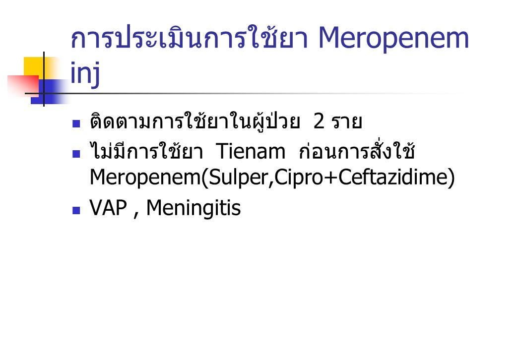 การประเมินการใช้ยา Meropenem inj ติดตามการใช้ยาในผู้ป่วย 2 ราย ไม่มีการใช้ยา Tienam ก่อนการสั่งใช้ Meropenem(Sulper,Cipro+Ceftazidime) VAP, Meningitis