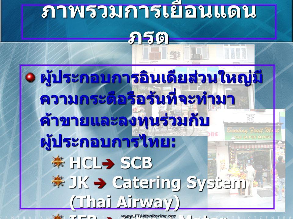 ภาพรวมการเยือนแดน ภรต ผู้ประกอบการอินเดียส่วนใหญ่มี ความกระตือรือร้นที่จะทำมา ค้าขายและลงทุนร่วมกับ ผู้ประกอบการไทย : HCL  SCB JK  Catering System (Thai Airway) IFB  Sitipol Motor Rasoi Mansinghka Sons www.FTAMonitoring.org