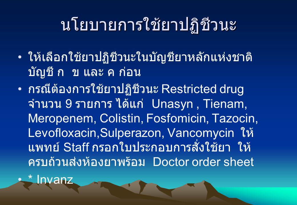 นโยบายการใช้ยาปฏิชีวนะ ให้เลือกใช้ยาปฏิชีวนะในบัญชียาหลักแห่งชาติ บัญชี ก ข และ ค ก่อน กรณีต้องการใช้ยาปฏิชีวนะ Restricted drug จำนวน 9 รายการ ได้แก่