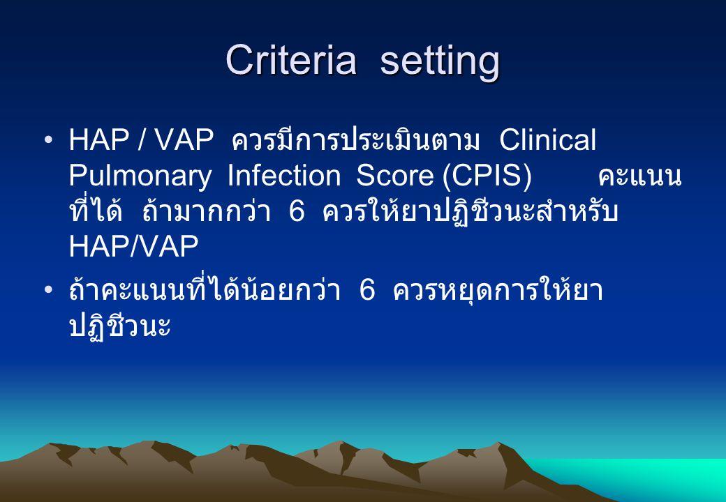 Criteria setting HAP / VAP ควรมีการประเมินตาม Clinical Pulmonary Infection Score (CPIS) คะแนน ที่ได้ ถ้ามากกว่า 6 ควรให้ยาปฏิชีวนะสำหรับ HAP/VAP ถ้าคะ