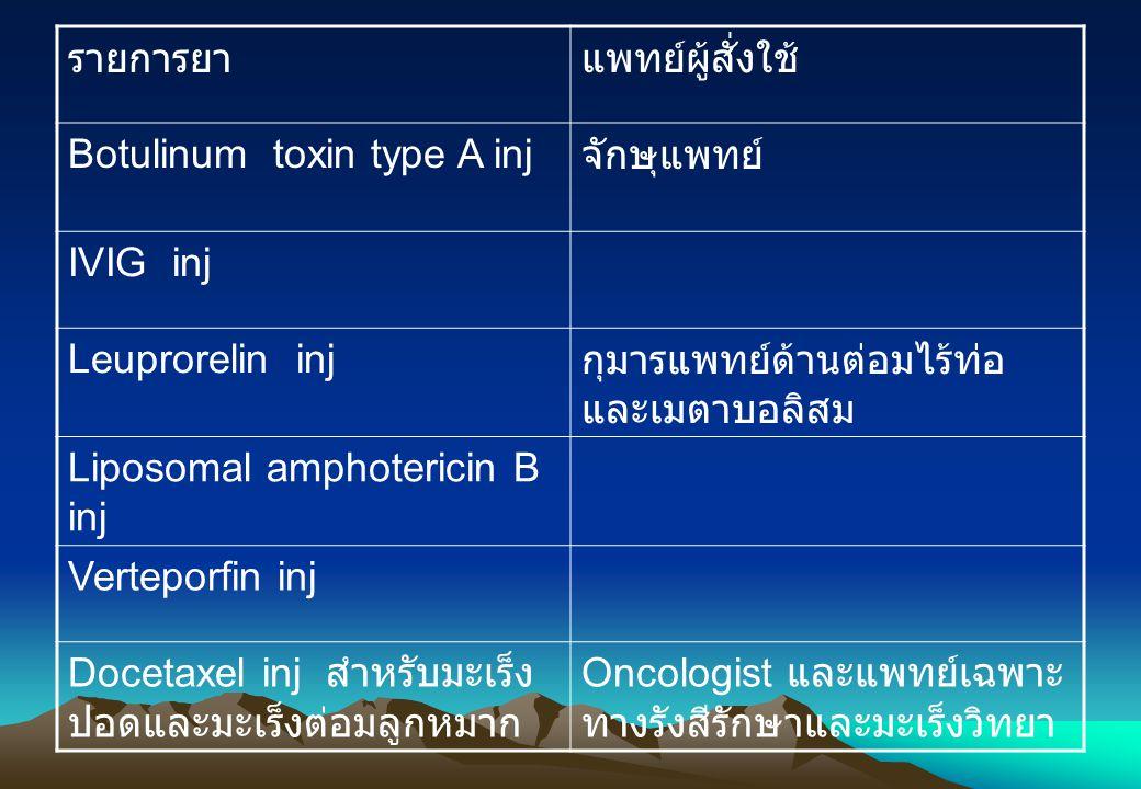 รายการยาแพทย์ผู้สั่งใช้ Botulinum toxin type A inj จักษุแพทย์ IVIG inj Leuprorelin inj กุมารแพทย์ด้านต่อมไร้ท่อ และเมตาบอลิสม Liposomal amphotericin B