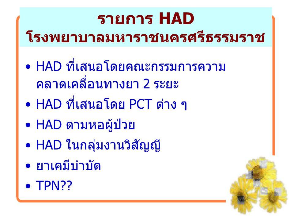 รายการ HAD โรงพยาบาลมหาราชนครศรีธรรมราช HAD ที่เสนอโดยคณะกรรมการความ คลาดเคลื่อนทางยา 2 ระยะ HAD ที่เสนอโดย PCT ต่าง ๆ HAD ตามหอผู้ป่วย HAD ในกลุ่มงาน
