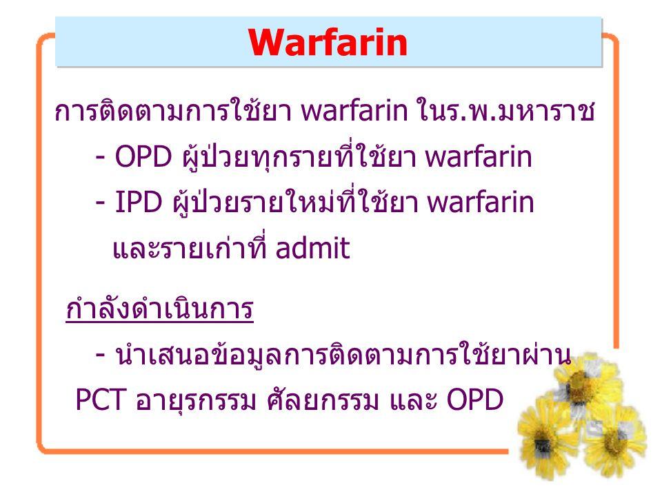 การติดตามการใช้ยา warfarin ในร.พ.มหาราช - OPD ผู้ป่วยทุกรายที่ใช้ยา warfarin - IPD ผู้ป่วยรายใหม่ที่ใช้ยา warfarin และรายเก่าที่ admit กำลังดำเนินการ