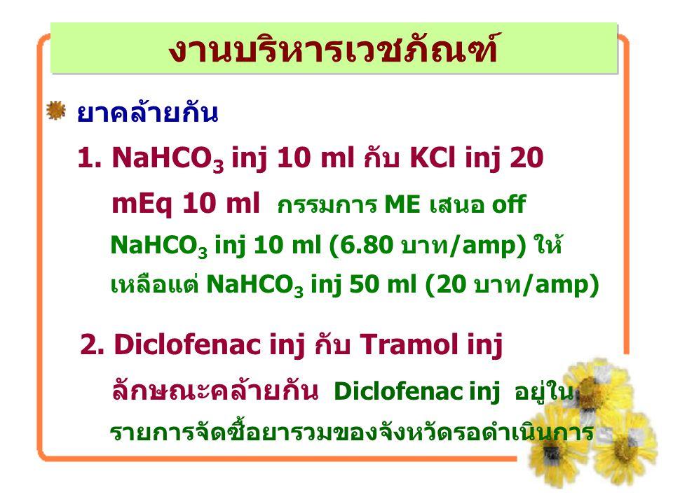 ยาคล้ายกัน 1. NaHCO 3 inj 10 ml กับ KCl inj 20 mEq 10 ml กรรมการ ME เสนอ off NaHCO 3 inj 10 ml (6.80 บาท/amp) ให้ เหลือแต่ NaHCO 3 inj 50 ml (20 บาท/a