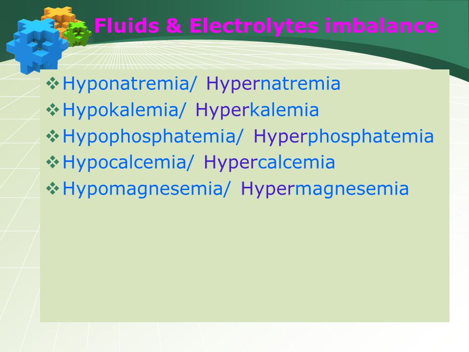 Fluids & Electrolytes imbalance  Hyponatremia/ Hypernatremia  Hypokalemia/ Hyperkalemia  Hypophosphatemia/ Hyperphosphatemia  Hypocalcemia/ Hyperc