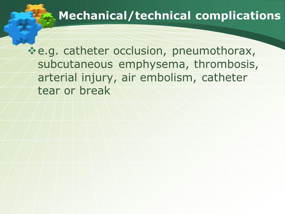 Mechanical/technical complications  e.g. catheter occlusion, pneumothorax, subcutaneous emphysema, thrombosis, arterial injury, air embolism, cathete