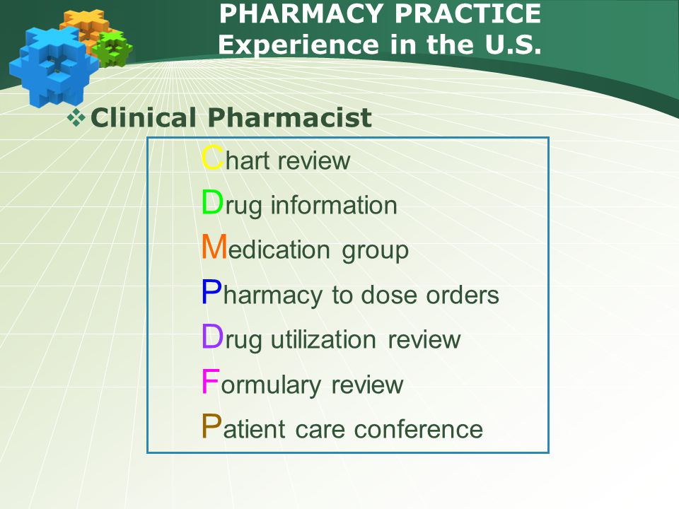 PHARMACY PRACTICE Experience in the U.S.  Clinical Pharmacist C hart review D rug information M edication group P harmacy to dose orders D rug utiliz