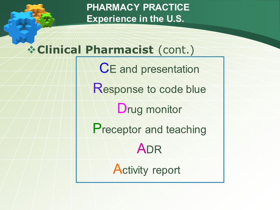  Clinical Pharmacist (cont.) C E and presentation R esponse to code blue D rug monitor P receptor and teaching A DR A ctivity report PHARMACY PRACTIC