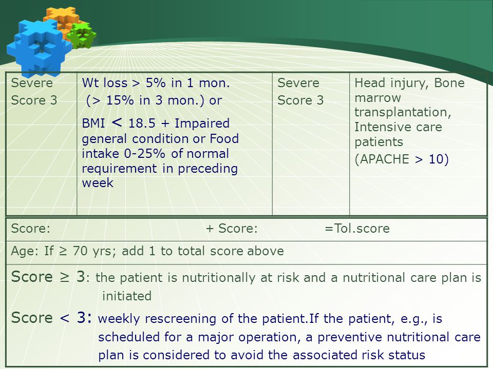 Severe Score 3 Wt loss > 5% in 1 mon. (> 15% in 3 mon.) or BMI < 18.5 + Impaired general condition or Food intake 0-25% of normal requirement in prece