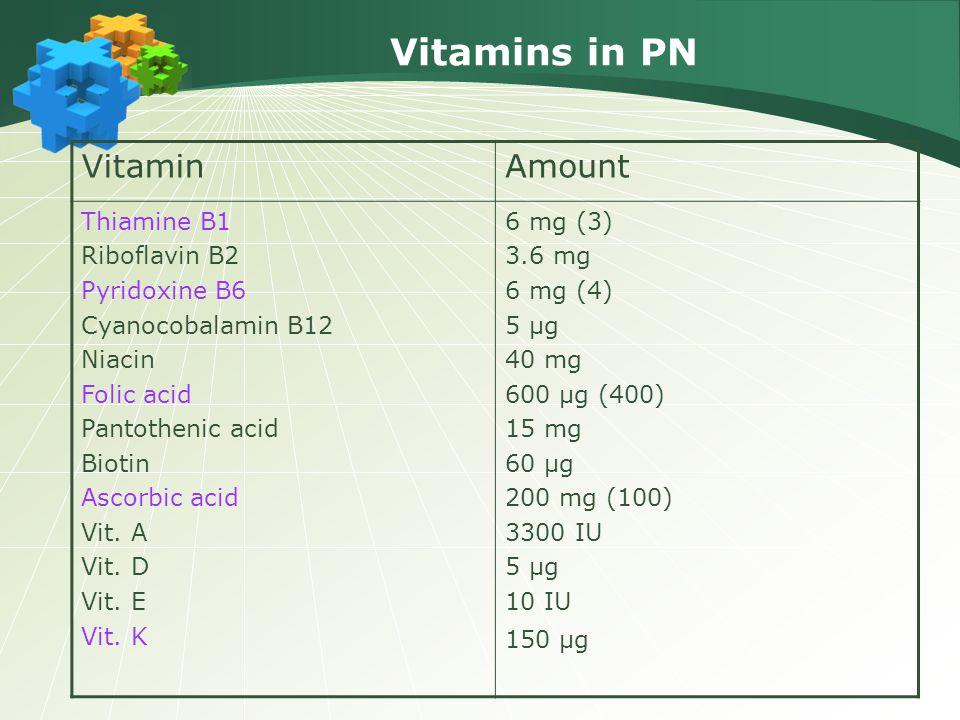 Vitamins in PN VitaminAmount Thiamine B1 Riboflavin B2 Pyridoxine B6 Cyanocobalamin B12 Niacin Folic acid Pantothenic acid Biotin Ascorbic acid Vit. A