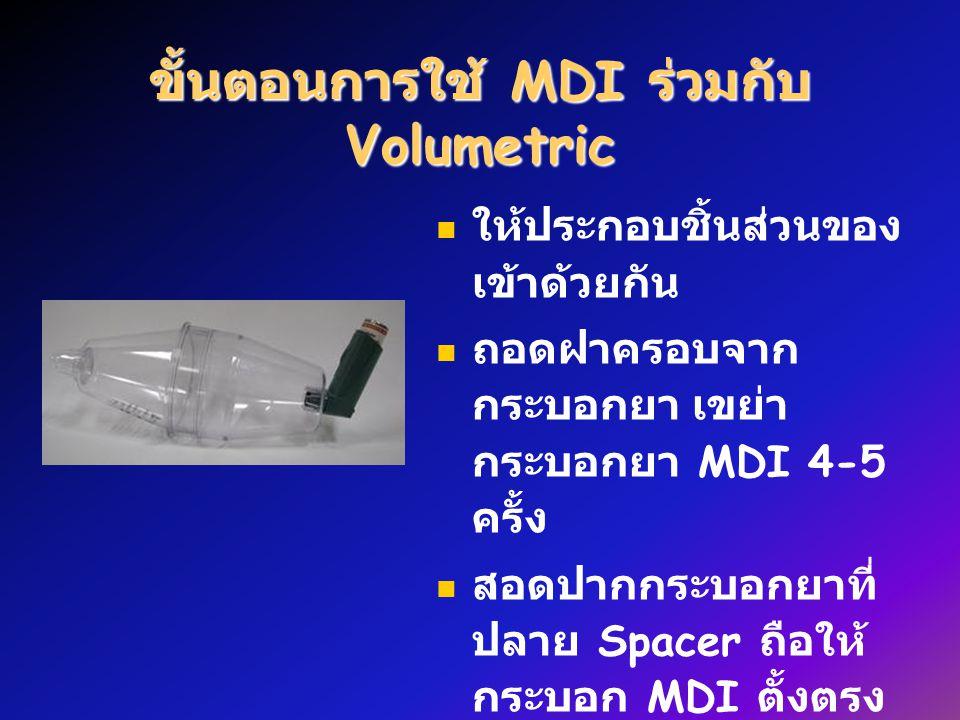 ให้ประกอบชิ้นส่วนของ เข้าด้วยกัน ถอดฝาครอบจาก กระบอกยา เขย่า กระบอกยา MDI 4-5 ครั้ง สอดปากกระบอกยาที่ ปลาย Spacer ถือให้ กระบอก MDI ตั้งตรง