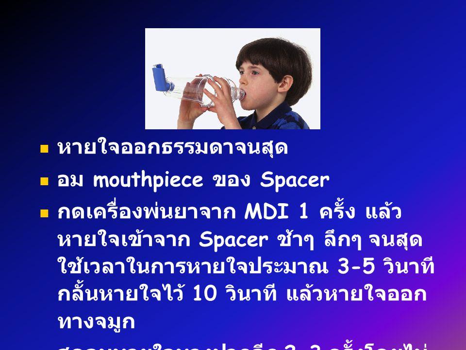 หายใจออกธรรมดาจนสุด อม mouthpiece ของ Spacer กดเครื่องพ่นยาจาก MDI 1 ครั้ง แล้ว หายใจเข้าจาก Spacer ช้าๆ ลึกๆ จนสุด ใช้เวลาในการหายใจประมาณ 3-5 วินาที