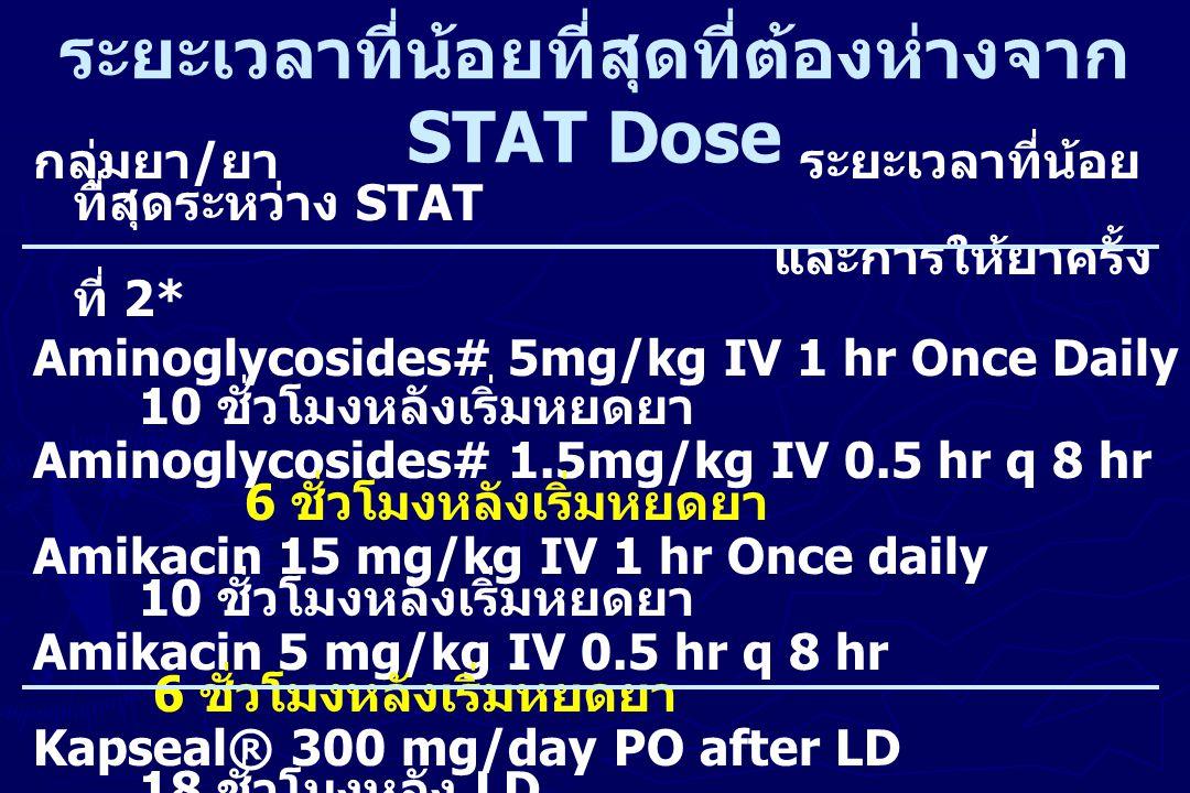 ระยะเวลาที่น้อยที่สุดที่ต้องห่างจาก STAT Dose กลุ่มยา / ยา ระยะเวลาที่น้อย ที่สุดระหว่าง STAT และการให้ยาครั้ง ที่ 2* Aminoglycosides# 5mg/kg IV 1 hr
