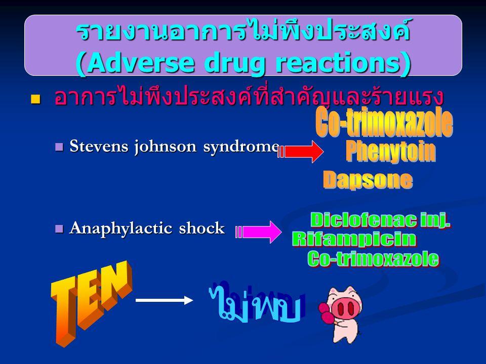 อาการไม่พึงประสงค์ที่สำคัญและร้ายแรง อาการไม่พึงประสงค์ที่สำคัญและร้ายแรง Stevens johnson syndrome Stevens johnson syndrome Anaphylactic shock Anaphyl