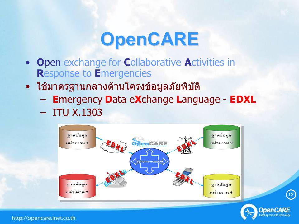 OpenCARE Open exchange for Collaborative Activities in Response to Emergencies ใช้มาตรฐานกลางด้านโครงข้อมูลภัยพิบัติ – Emergency Data eXchange Language - EDXL – ITU X.1303 12