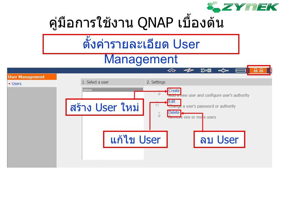 คู่มือการใช้งาน QNAP เบื้องต้น ตั้งค่ารายละเอียด User Management สร้าง User ใหม่ แก้ไข Userลบ User