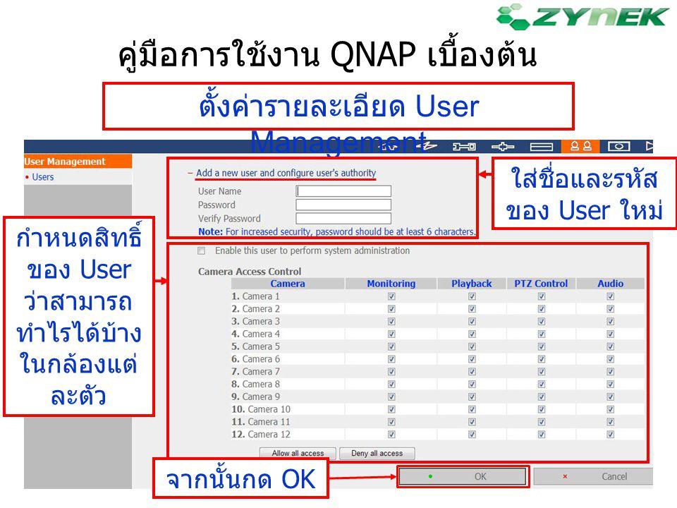 คู่มือการใช้งาน QNAP เบื้องต้น ตั้งค่ารายละเอียด User Management ใส่ชื่อและรหัส ของ User ใหม่ กำหนดสิทธิ์ ของ User ว่าสามารถ ทำไรได้บ้าง ในกล้องแต่ ละ