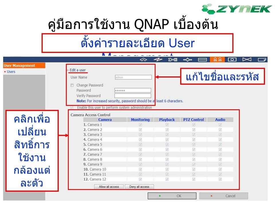 คู่มือการใช้งาน QNAP เบื้องต้น ตั้งค่ารายละเอียด User Management แก้ไขชื่อและรหัส คลิกเพื่อ เปลี่ยน สิทธิ์การ ใช้งาน กล้องแต่ ละตัว