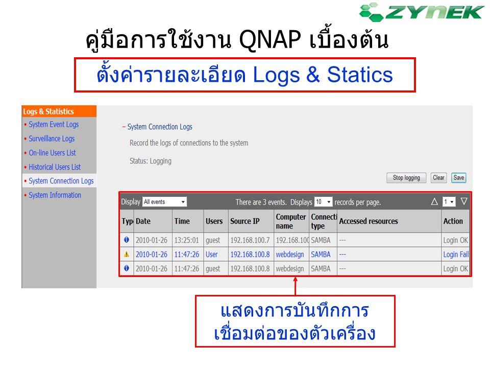 ตั้งค่ารายละเอียด Logs & Statics คู่มือการใช้งาน QNAP เบื้องต้น แสดงการบันทึกการ เชื่อมต่อของตัวเครื่อง