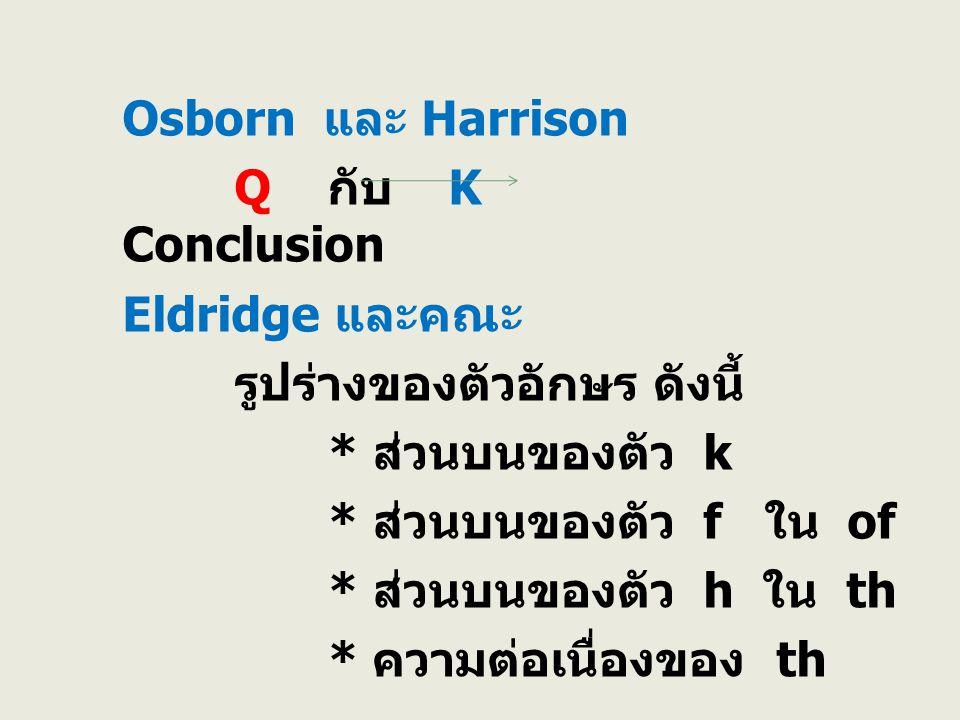 Osborn และ Harrison Q กับ K Conclusion Eldridge และคณะ รูปร่างของตัวอักษร ดังนี้ * ส่วนบนของตัว k * ส่วนบนของตัว f ใน of * ส่วนบนของตัว h ใน th * ความ