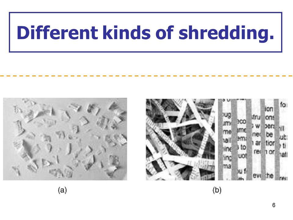 Different kinds of shredding. 6