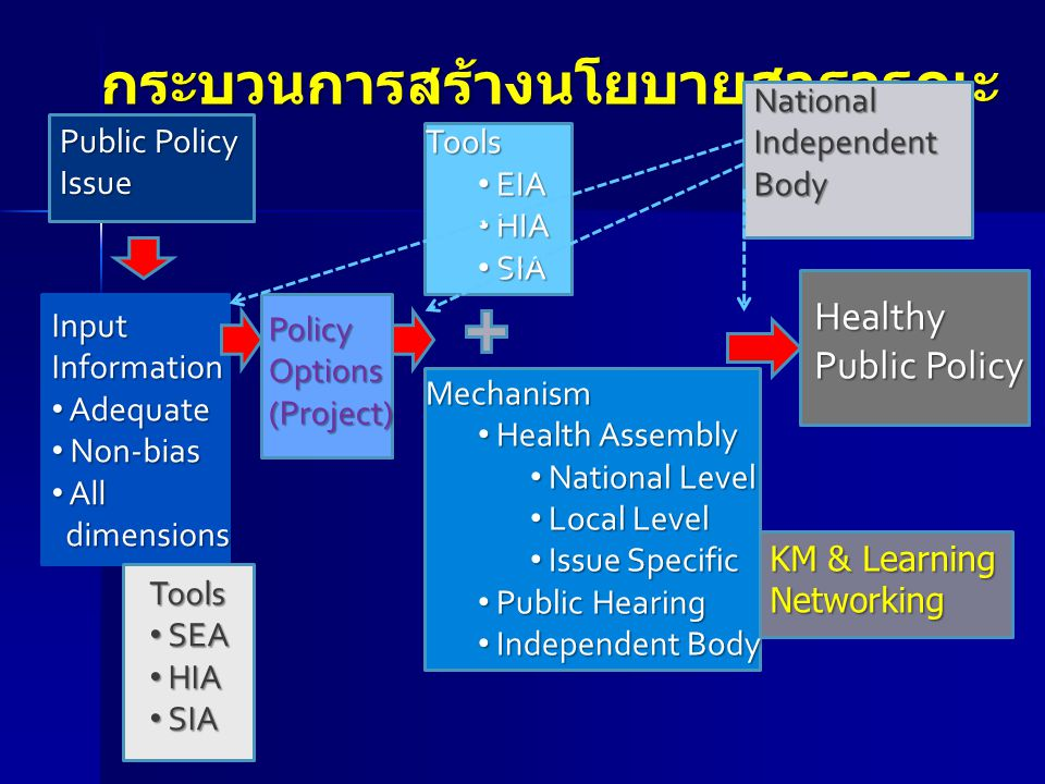 Tools EIA EIA HIA HIA SIA SIAMechanism Health Assembly Health Assembly National Level National Level Local Level Local Level Issue Specific Issue Spec
