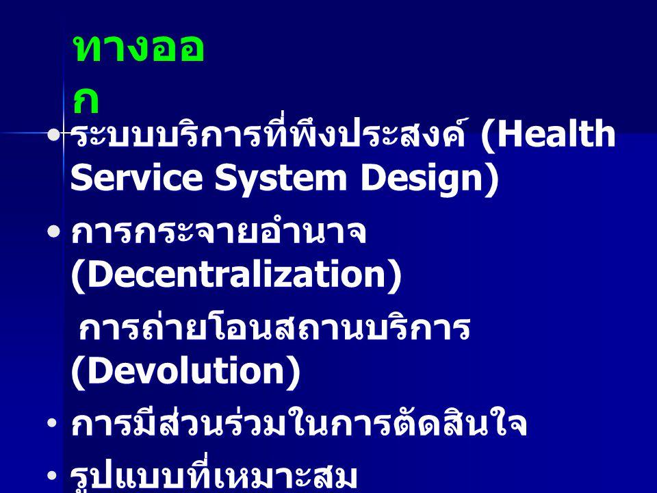 ระบบบริการที่พึงประสงค์ (Health Service System Design) ระบบบริการที่พึงประสงค์ (Health Service System Design) การกระจายอำนาจ (Decentralization) การกระ