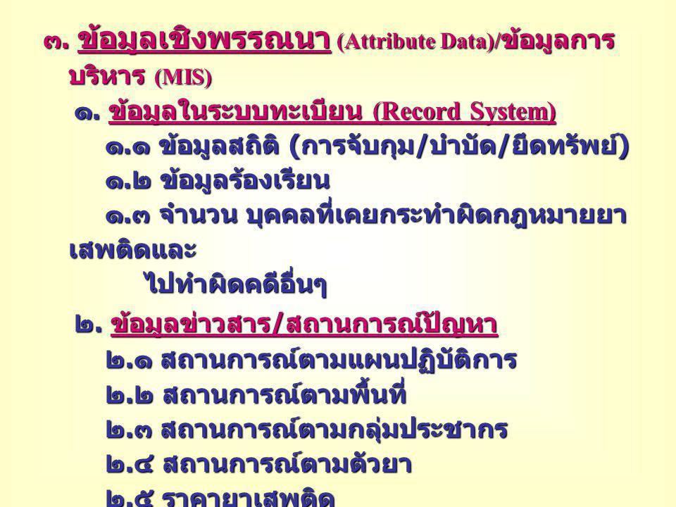 ๓. ข้อมูลเชิงพรรณนา (Attribute Data)/ ข้อมูลการ บริหาร (MIS) ๓. ข้อมูลเชิงพรรณนา (Attribute Data)/ ข้อมูลการ บริหาร (MIS) ๑. ข้อมูลในระบบทะเบียน (Reco