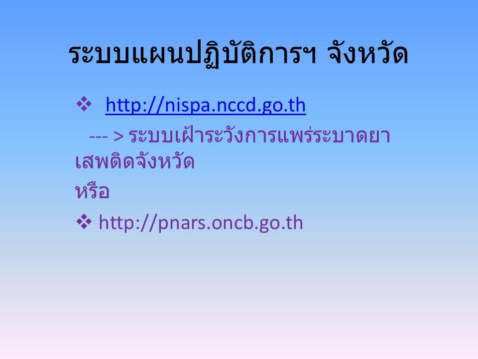 ระบบแผนปฏิบัติการฯ จังหวัด  http://nispa.nccd.go.thhttp://nispa.nccd.go.th --- > ระบบเฝ้าระวังการแพร่ระบาดยา เสพติดจังหวัด หรือ  http://pnars.oncb.g