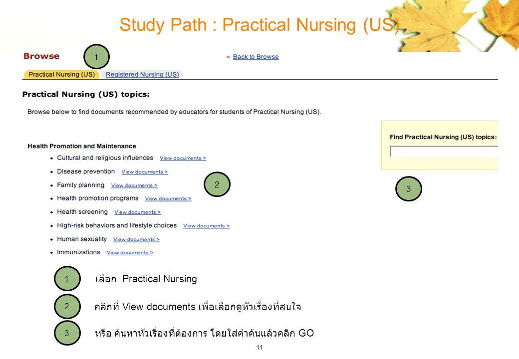 11 Study Path : Practical Nursing (US) 3 2 1 3 2 1 หรือ ค้นหาหัวเรื่องที่ต้องการ โดยใส่คำค้นแล้วคลิก GO คลิกที่ View documents เพื่อเลือกดูหัวเรื่องที่สนใจ เลือก Practical Nursing