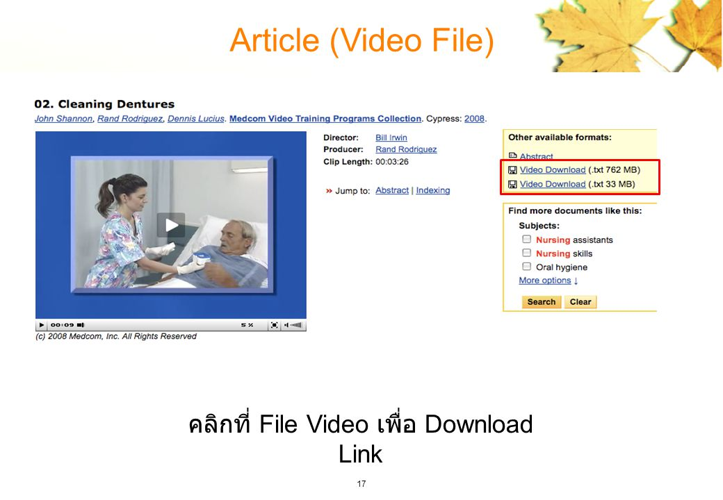 17 Article (Video File) คลิกที่ File Video เพื่อ Download Link