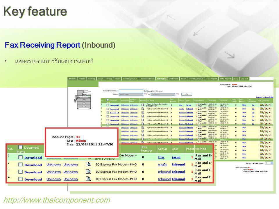 http://www.thaicomponent.com Fax Receiving Report (Inbound) แสดงรายงานการรับเอกสารแฟกซ์ Key feature