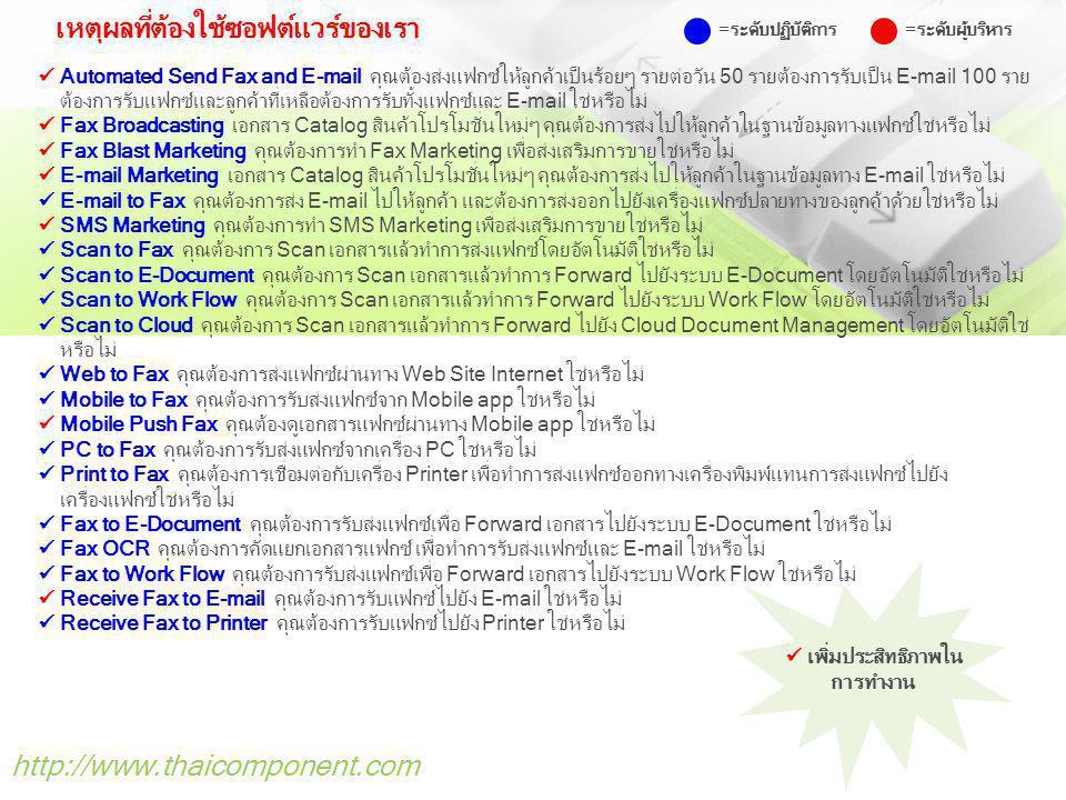 http://www.thaicomponent.com เหตุผลที่ต้องใช้ซอฟต์แวร์ของเรา Automated Send Fax and E-mail คุณต้องส่งแฟกซ์ให้ลูกค้าเป็นร้อยๆ รายต่อวัน 50 รายต้องการรั