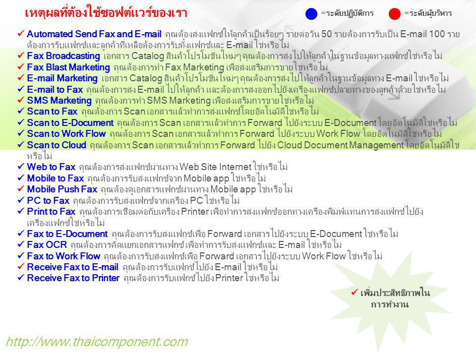 http://www.thaicomponent.com ระบบรับ-ส่ง Fax และ E-mail อัตโนมัติ (Auto Fax and E-mail) รับ-ส่ง Fax อัตโนมัติ ด้วยความเร็วสูง 40 วินาทีต่อ 1 แผ่น ส่งแฟกซ์ผ่าน 56k Modem และ ADLS ที่เชื่อมต่อกับ Internet โดยไม่จำเป็นต้องมีเครื่องแฟกซ์และคู่สายโทรศัพท์ รับ-ส่งแฟกซ์ด้วยความเร็ว ลดค่าใช้จ่ายแฟกซ์, ค่าหมึก, ค่ากระดาษและค่าบำรุงรักษาเครื่องแฟกซ์ต่อเดือน ระบบส่ง Fax แบบต่อเนื่องไปยังหมายเลขปลายทางได้พร้อม ๆ กันด้วยระบบ Queue Management ระบบ Fax to E-mail ส่งแฟกซ์ไปยัง E-mail ลดค่าใช้จ่ายแฟกซ์ พร้อมระบบ E-mail tracking ระบบ E-mail to Fax ส่ง E-mail ไปยังแฟกซ์ ระบบ Mobile Fax รับ-ส่งแฟกซ์ผ่าน Mobile app ระบบ Fax to Printer ส่งแฟกซ์จากสำนักงานใหญ่ไปยังสาขาออกทางเครื่องพิมพ์ Printer ลดค่าใช้จ่ายแฟกซ์ ระบบ Web to Fax ส่งแฟกซ์ Online ผ่าน Web Browser เชื่อมต่อทั้ง Intranet/Internet ระบบ Multi-Function to Fax Server ส่งแฟกซ์ผ่านเครื่องพิมพ์ Multi-Function เชื่อมต่อไปยัง Fax Server ระบบ Fax, E-mail and SMS Software Marketing ทำตลาดสินค้าผ่านทาง Fax, E-mail และ SMS ระบบ Received Fax to E-mail และ Received Fax to Printer ออกทางเครื่องพิมพ์ ระบบ Merge ไฟล์เอกสารจำนวนหลายๆไฟล์ให้เป็นหนึ่งไฟล์เพื่อลดค่าใช้จ่ายแฟกซ์โดยหมุนเบอร์เพียงครั้งเดียว ระบบคัดแยกรายละเอียดเอกสารแฟกซ์ด้วย OCR ไฟล์ เชื่อมต่อกับระบบภายในบริษัทได้อย่างสมบูรณ์แบบเช่นระบบ ERP, SAP และ LDAP/Active Directory ติดตั้งทดลองใช้งาน ฟรี .