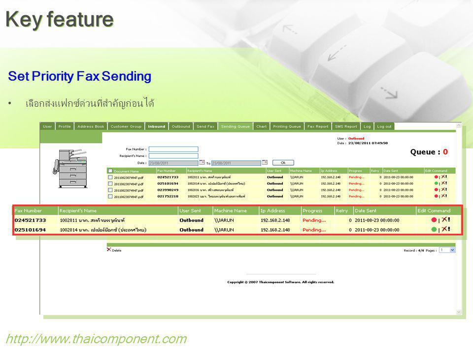 http://www.thaicomponent.com Set Priority Fax Sending เลือกส่งแฟกซ์ด่วนที่สำคัญก่อนได้ Key feature