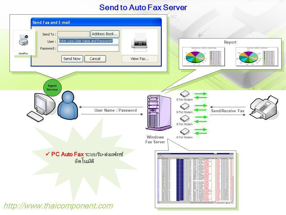 http://www.thaicomponent.com Send Fax with date-time control กำหนดช่วงวันเวลาที่ต้องการส่งแฟกซ์ได้ Key feature