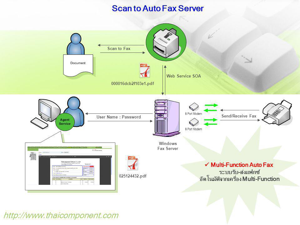 Windows Fax Server Scan to Fax Web Service SOA 000016dcb2f103e1.pdf Send/Receive Fax User Name : Password 025124432.pdf Scan to Auto Fax Server http://www.thaicomponent.com Multi-Function Auto Fax ระบบรับ-ส่งแฟกซ์ อัตโนมัติจากเครื่อง Multi-Function