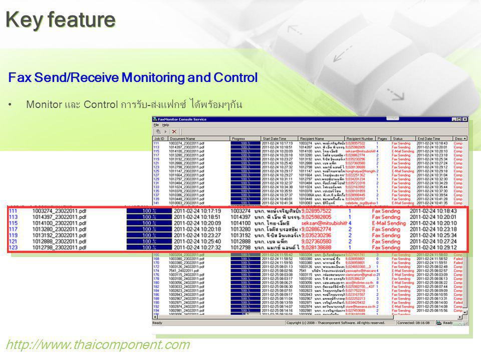 http://www.thaicomponent.com Fax Send/Receive Monitoring and Control Monitor และ Control การรับ-ส่งแฟกซ์ ได้พร้อมๆกัน Key feature