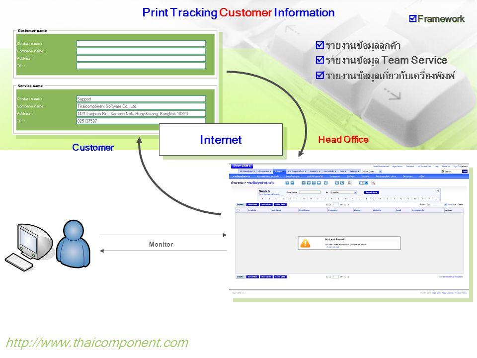 http://www.thaicomponent.com Print Tracking Location Information Internet Monitor Customer Head Office  วิเคราะห์หาตำแหน่งเครื่องพิมพ์แต่ละรุ่นที่กระจาย อยู่ตามพื้นที่จุดต่างๆที่ให้บริการ  Framework