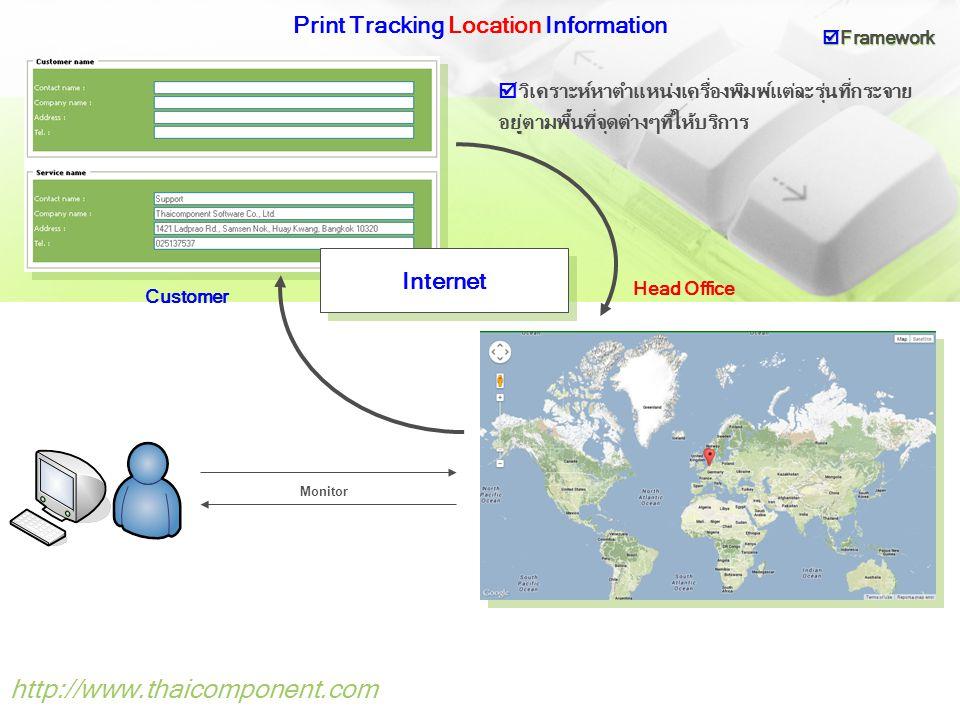 http://www.thaicomponent.com Print Tracking Alert Information Internet Support Printer Head Office  แจ้งปัญหาการใช้งานเครื่องพิมพ์  Framework