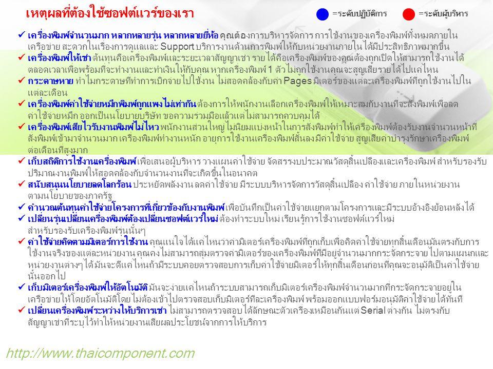 http://www.thaicomponent.com ระบบบริหารการจัดการเครื่อง Printer ภายในเครือข่าย ระบบ Monitoring and Cost Control ควบคุมและบริหารจัดการเครื่อง Printer บน Print Server ระบบ Job Control and Monitoring บริหารจัดการงานพิมพ์ตามแต่ละแผนกที่ได้รับมอบหมาย ระบบ Pages Printing Control ควบคุมบริหารจำนวนหน้าสูงสุดที่สั่งพิมพ์ในแต่ละครั้งแยกตาม Printer ระบบ Pages Counter Monitor ระบบ Monitor การ Copy หรือ Print ตามช่วงระยะเวลาขณะใช้งาน ระบบ USB Print Monitoring ระบบ Monitor เครื่องพิมพ์ที่เชื่อมต่อตรงโดยผ่าน USB ระบบ Inventory and Monitoring ระบบรายงานการเบิกจ่ายกระดาษและนำไปใช้งานจริง ระบบ Help Desk Monitoring ระบบรายงานระยะเวลาในการเข้ามาบริการดูแลรับประกันเครื่องพิมพ์ เชื่อมต่อกับ LDAP/User Directory Services (AD) ภายในหน่วยงานได้อย่างสมบูรณ์แบบ รองรับจำนวนผู้ใช้งานพร้อมๆกันได้ไม่จำกัดและสามารถทำงานกับเครื่อง Printer ได้ทุกยี่ห้อ ควบคุมและบริหารจัดการ Printer พร้อมๆ กันได้มากกว่า 100 ตัว และรองรับ User ได้มากกว่า 2,000 คน