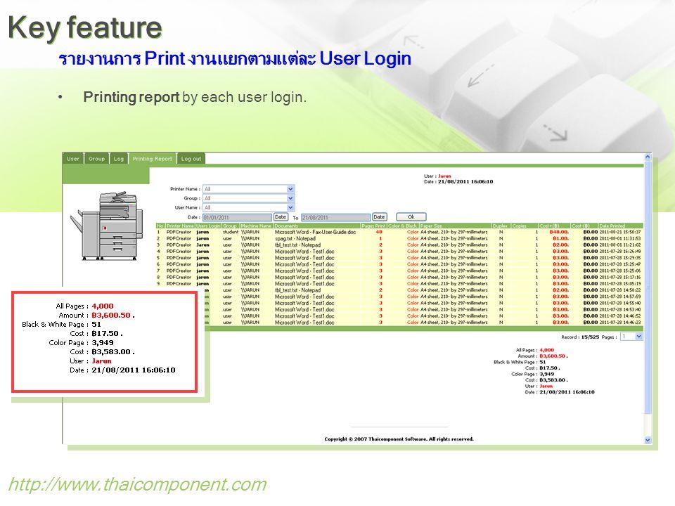  Print and Copy Monitoring (รายงานการใช้งานเครื่องพิมพ์และเครื่องถ่าย เอกสาร)  รองรับเครื่องพิมพ์และเครื่องถ่ายเอกสารทุกรุ่นทุก Model มากกว่า 500 เครื่อง http://www.thaicomponent.com Key success
