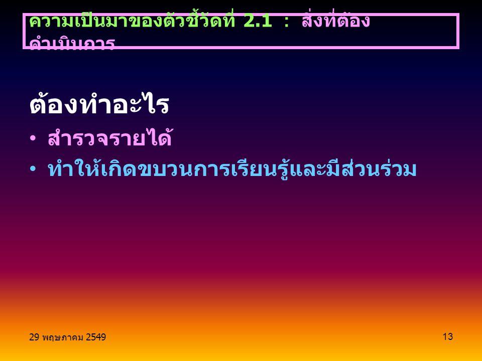 29 พฤษภาคม 2549 13 ต้องทำอะไร สำรวจรายได้ ทำให้เกิดขบวนการเรียนรู้และมีส่วนร่วม ความเป็นมาของตัวชี้วัดที่ 2.1 : สิ่งที่ต้อง ดำเนินการ
