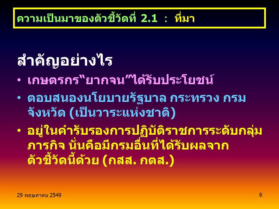 29 พฤษภาคม 2549 6 สำคัญอย่างไร เกษตรกร ยากจน ได้รับประโยชน์ ตอบสนองนโยบายรัฐบาล กระทรวง กรม จังหวัด ( เป็นวาระแห่งชาติ ) อยู่ในคำรับรองการปฏิบัติราชการระดับกลุ่ม ภารกิจ นั่นคือมีกรมอื่นที่ได้รับผลจาก ตัวชี้วัดนี้ด้วย ( กสส.